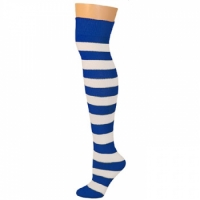 Adults Striped Knee Socks - Blue/White