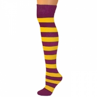Adults Striped Knee Socks - Gold Yellow/Maroon