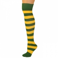 Adults Striped Knee Socks - Green/Gold