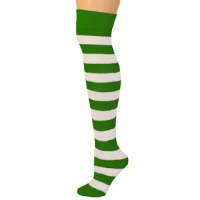 Adults Striped Knee Socks - Green/White