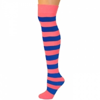 Adults Striped Knee Socks - Hot Pink/Blue