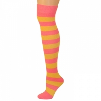 Adults Striped Knee Socks - Hot Pink/Gold Yellow