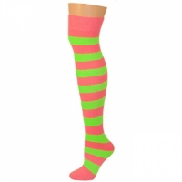 Adults Striped Knee Socks - Hot Pink/Neon Lime Green