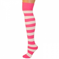 Adults Striped Knee Socks - Hot Pink/White