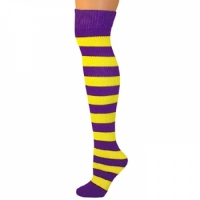 Adults Striped Knee Socks - Purple/Lemon Yellow
