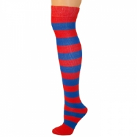 Adults Striped Knee Socks - Red/Blue
