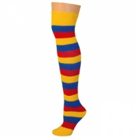 Adults Striped Knee Socks - Red/Gold/Blue