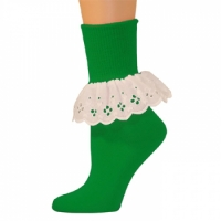 Bobbi Socks w/ Lace - Green