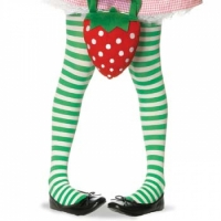 Childrens Striped Tights - White/Green (Medium)