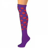 Polka Dot Knee Socks - Purple w/ Red Dots