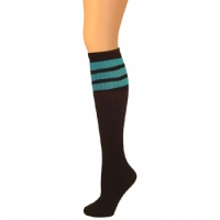 Retro Tube Socks - Black w/ Turquoise, Knee High