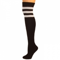 Retro Tube Socks - Black w/ White (Over Knee)
