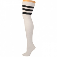 Retro Tube Socks - White w/ Black (Thigh High)