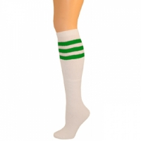 Retro Tube Socks - White w/ Green (Knee High)