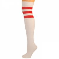 Retro Tube Socks - White w/ Red (Over Knee)