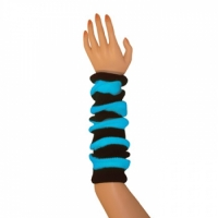 "Striped Arm Warmers - Black/Turquoise (16"")"
