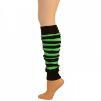 "Striped Leg Warmers w/ Welt -  Black/Lime Green (23"")"