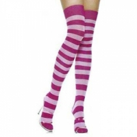 Thigh High Socks - Light Pink/Fuschia