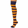 Adults Striped Knee Socks - Black/Neon Orange