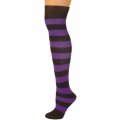 Adults Striped Knee Socks - Black/Purple