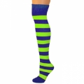 Adults Striped Knee Socks - Blue/Neon Lime Green