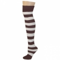 Adults Striped Knee Socks - Brown/White