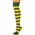 Adults Striped Knee Socks - Green/Lemon Yellow