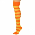 Adults Striped Knee Socks - Neon Orange/Lemon Yellow