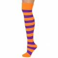 Adults Striped Knee Socks - Neon Orange/Purple