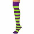 Adults Striped Knee Socks - Purple/Neon Lime Green