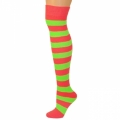 Adults Striped Knee Socks - Red/Neon Lime Green