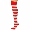 Adults Striped Knee Socks - Red/White