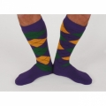 Argyle Socks Knee Socks - Purple/Gold/Green