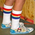 "Athletic Rainbow Striped 14"" Kids Tube Socks (Style 2)"