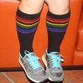 "Athletic Rainbow Striped 19"" Under the Knee Tube Socks (Black)"