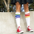 "Athletic Rainbow Striped 19"" Under the Knee Tube Socks (Style 3)"