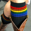 "Athletic Rainbow Striped 22"" Knee High Tube Socks (Black)"
