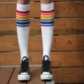 "Athletic Rainbow Striped 22"" Knee High Tube Socks (Style 1)"