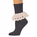 Bobbi Socks w/ Lace - Black