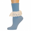 Bobbi Socks w/ Lace - Light Blue