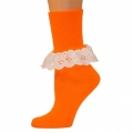 Bobbi Socks w/ Lace - Neon Orange