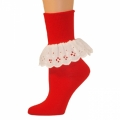 Bobbi Socks w/ Lace - Red