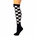 Checkered Knee Socks - Black/White