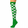 Checkered Knee Socks - Green/White