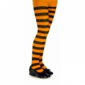 Childrens Striped Tights - Black/Neon Orange