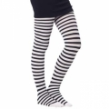 Childrens Striped Tights - Black/White (Medium)