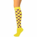 Heart Knee Socks - Lemon Yellow w/ Purple Hearts