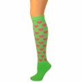 Heart Knee Socks - Lime w/ Pink Hearts