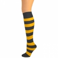 Kids Striped Knee Socks - Black/Gold Yellow