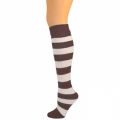 Kids Striped Knee Socks - Brown/White